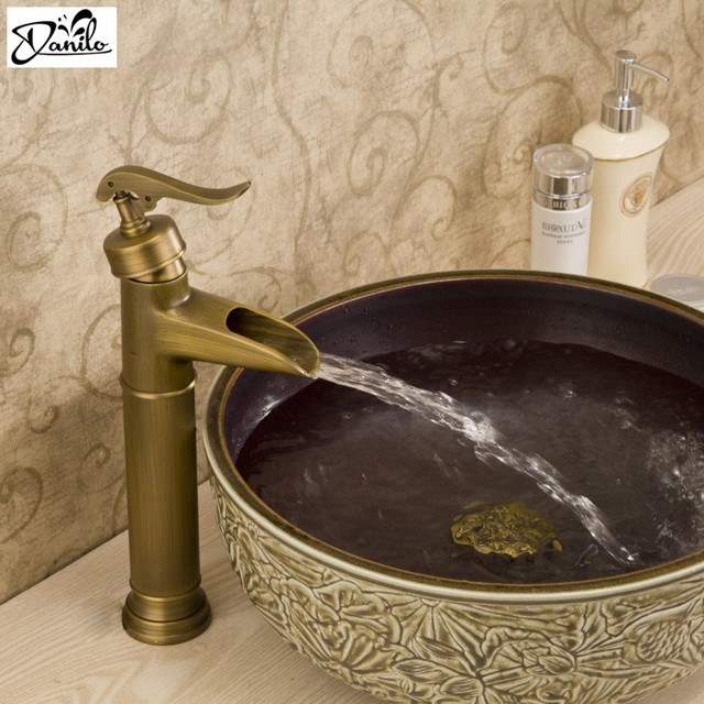 Brass single Hole Antique faucet Bronze Brushed Sink bathroom taps ...