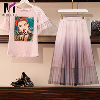 Women Sweet Pink 2 Piece Set 2019 Summer Girl Pearls Character Print Cotton T Shirts Top+Sheer Mesh Gradient Pleated Skirt Suit