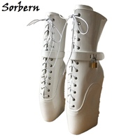 Sorbern/элегантные белые балетные ботинки на танкетке для женщин с перекрестной шнуровкой на заказ, широкие ботинки до середины икры для женщи