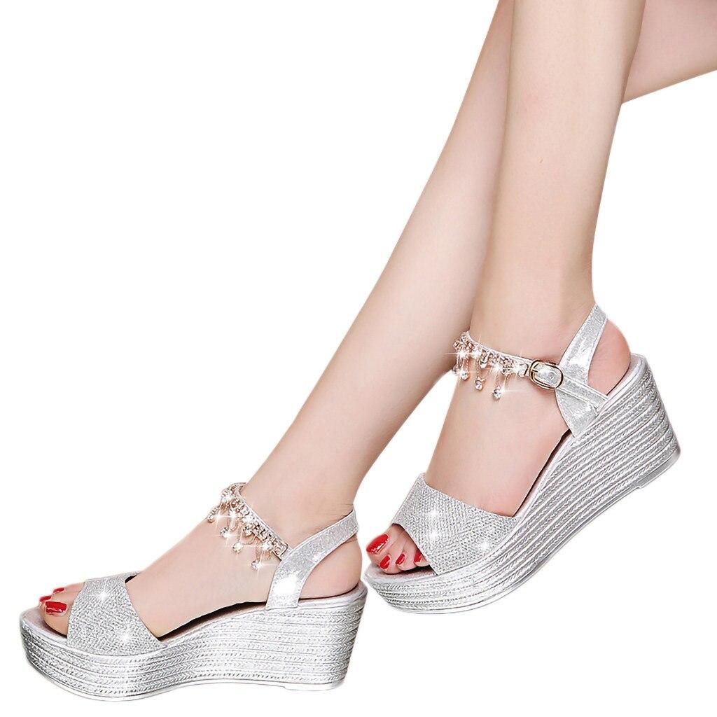 YOUYEDIAN Wedges Sandals Women Roman Sequin Retro Buckle Pearl-Bottom G3 Zapatos-De-Mujer