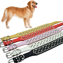Medium Size Large Dog-Collar 2 Inch Wide Pu Leather Collar For Dogs Pitbulls Big Pet Dog Supplies Sizes M L XL XXL Available