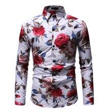 Floral Blouse Men Dress Shirt Brand clothing Long Sleeve Flower Male Black White