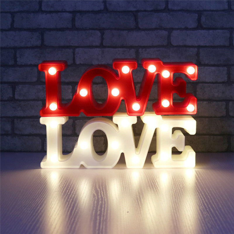 Romantic Wedding Living Room Decoration Small White LOVE Sign Night Lights For Home Children Room Decor Creative Desk Ornamation