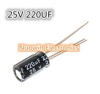 100pcs 220uF 25V Electrolytic Capacitor 25V220UF 6x12mm