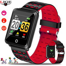 лучшая цена LIGE Sport Bracelet Waterproof Watch Big screen Blood Pressure Heart Rate Monitor Pedometer Fitness smart Watch for Android iOS