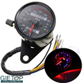 Motorcycle Meter DC 12V Retro Universal Odometer Panel Dual LED Backlight Night Readable Speedometer Gauge
