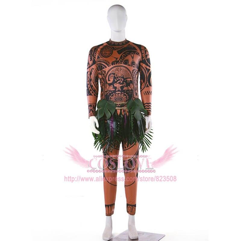 Наличии фильма Моана Мауи Косплэй Костюм полные комплекты фантазии Толстовка Брюки наряд костюм футболка листья для взрослых Хэллоуин Рож...