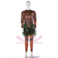 Stock Movie Moana Maui Cosplay Costume Full Sets Fancy Sweatshirt Pants Outfit Suit T Shirt Leaves