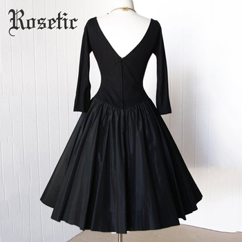 Rosetic Women Vintage Gothic Style Black Color Autumn Long Sleeve Backless Button Long Dress 1