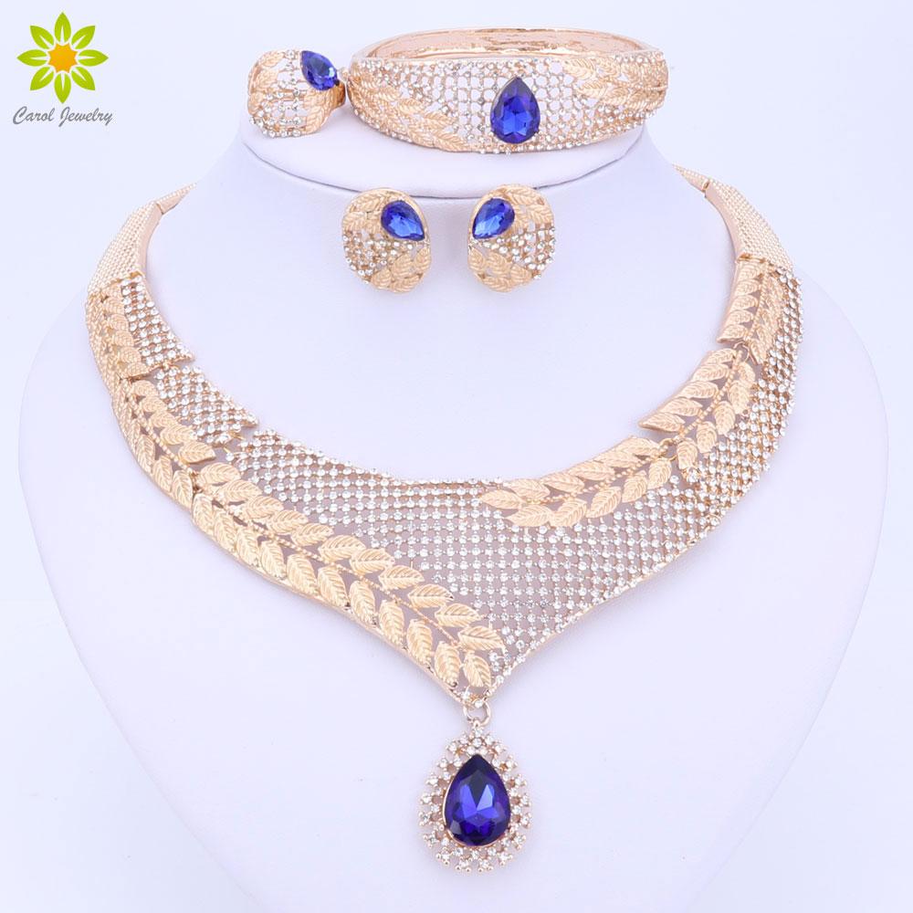 Dubové křišťálové šperky sada luxusní zlaté barvy velké nigerijské svatební africké korálky šperky sada kostýmní design pro ženy 3 barvy