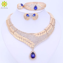 Dubai Crystal Jewelry Set Luxury Gold Color Big Nigerian Wedding African Beads Jewelry Set Costume Design For Women 3Color