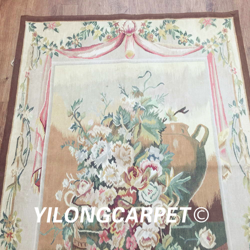 Yilong 3.1'x4.2' customized flat weave handmade french wool aubusson style wall tapestry (Au38 3.1x4.2) - 3