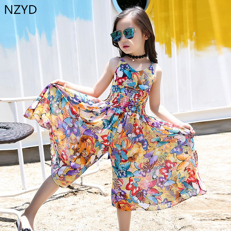 New Summer Girl Children's Clothing Rompers Dress 2017 Suspenders Flower Wide Leg Pants Casual Fashion Kids Clothes DC466 купить