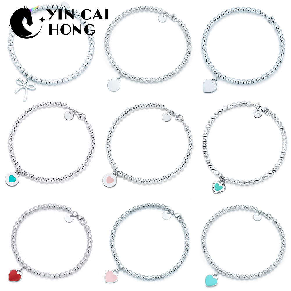 YCH 100% 925 Sterling Silver Love Heart Shape Round Bow Bead Bracelet Simple Temperament Women Original Jewelry Gift TIFFYCH 100% 925 Sterling Silver Love Heart Shape Round Bow Bead Bracelet Simple Temperament Women Original Jewelry Gift TIFF