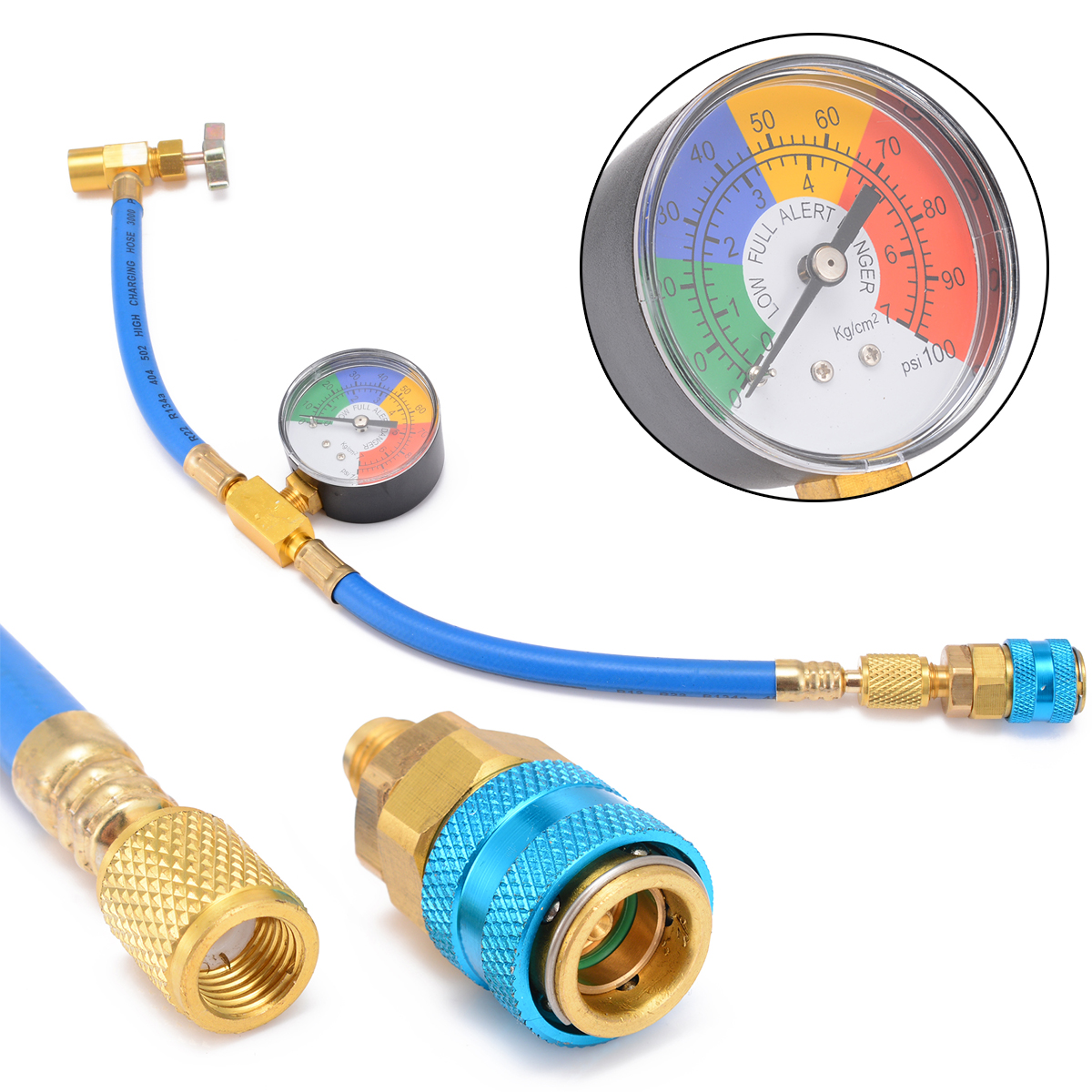 цена на R-134A Recharge Measuring Kit Car Air Conditioning Pressure Gauge System Hose Brass Can Tap Refrigerant Recharge Hose Mayitr