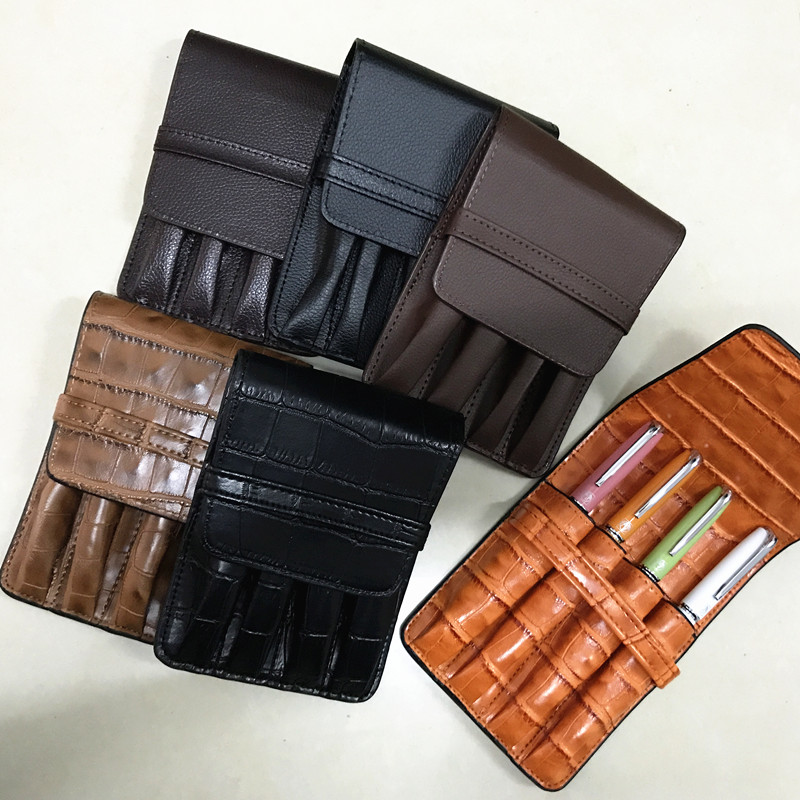 HIGH QUALITY LUXURY CROCODILE SKIN PATTERN ROLLER AND FOUNTAIN PENS CASE HOLDER FOR 4 PEN