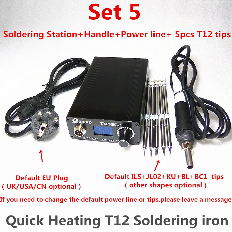T12 Electronic Soldering Iron Digital Heating Soldering Station Welding Iron New Version STC T12 OLED T12-952 QUICKO