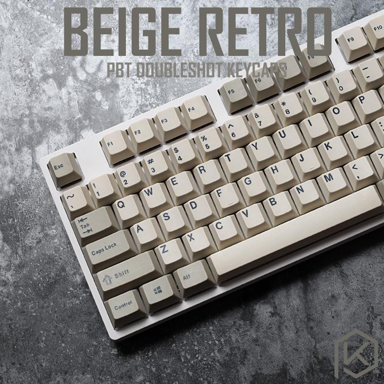 pbt doubleshot keycaps cherry profile retro beige grey for ansi 104 mechanical keyboard for cherry 3494