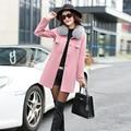 2016 Зима Новый женщин зимнее Пальто Корейского Стиля Тонкий красный розовый женщина Длинные Смеси Женский Работа Мода Пальто женской одежды горячей продажи