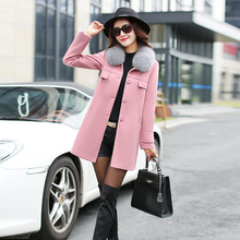 2016 Winter New women winter Coat Korean Style Slim red pink Woman Long Blends Female Work Fashion Coat women clothing hot sale