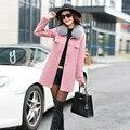 2016 de Invierno Nuevo de las mujeres de invierno al Estilo Coreano Delgado rojo rosa mujer Larga Mezclas Capa de La Manera de Trabajo Femenina ropa de mujer caliente de la venta
