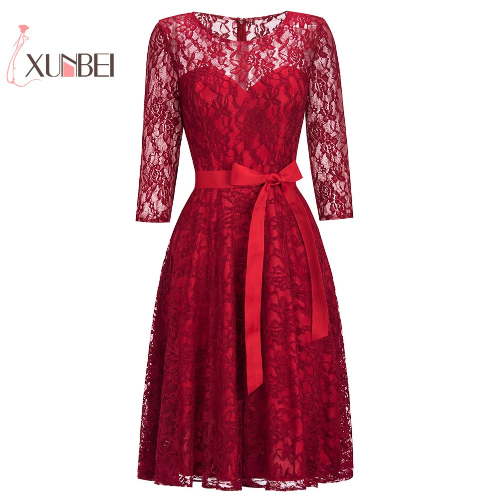Elegant Half Sleeves Burgundy Red Lace Short   Evening     Dresses   2019 Formal Prom Party   Dresses   With Detachable Sash