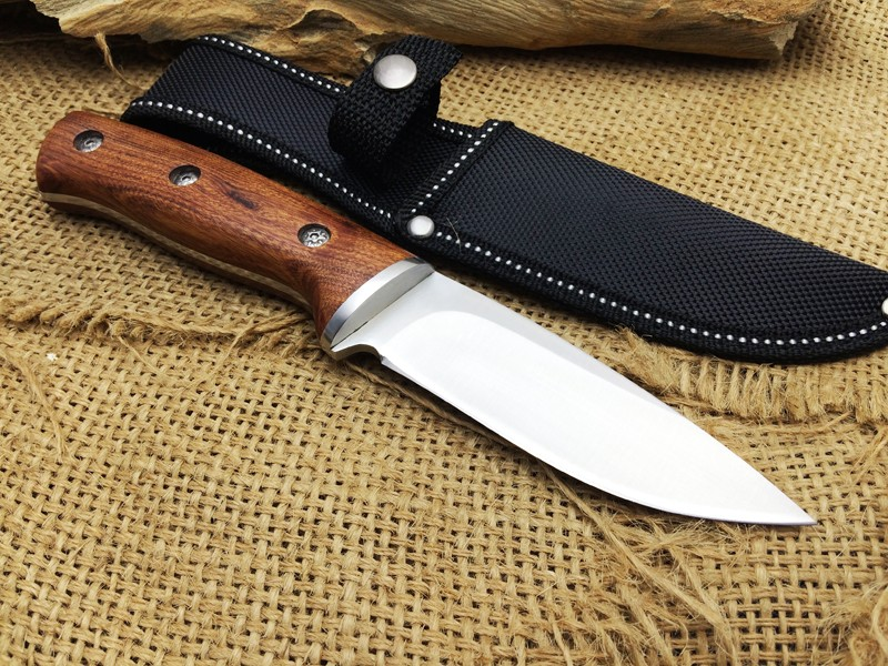 Buy Buck Hunting Fixed Knife 440 Blade Steel+Wood Handle Camping Tactical Knife Utility Survival Tool CS go cheap
