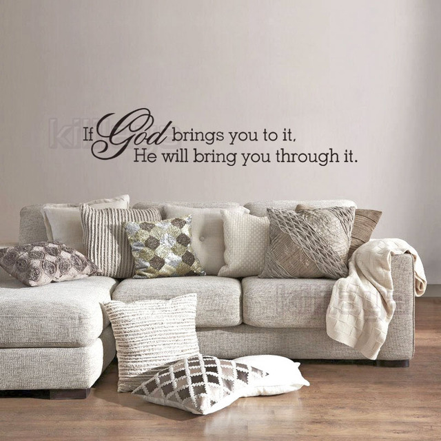 Christian If God Brings You To It Religious Vinyl Wall Sticker Decal Wall Art Wallpaper For