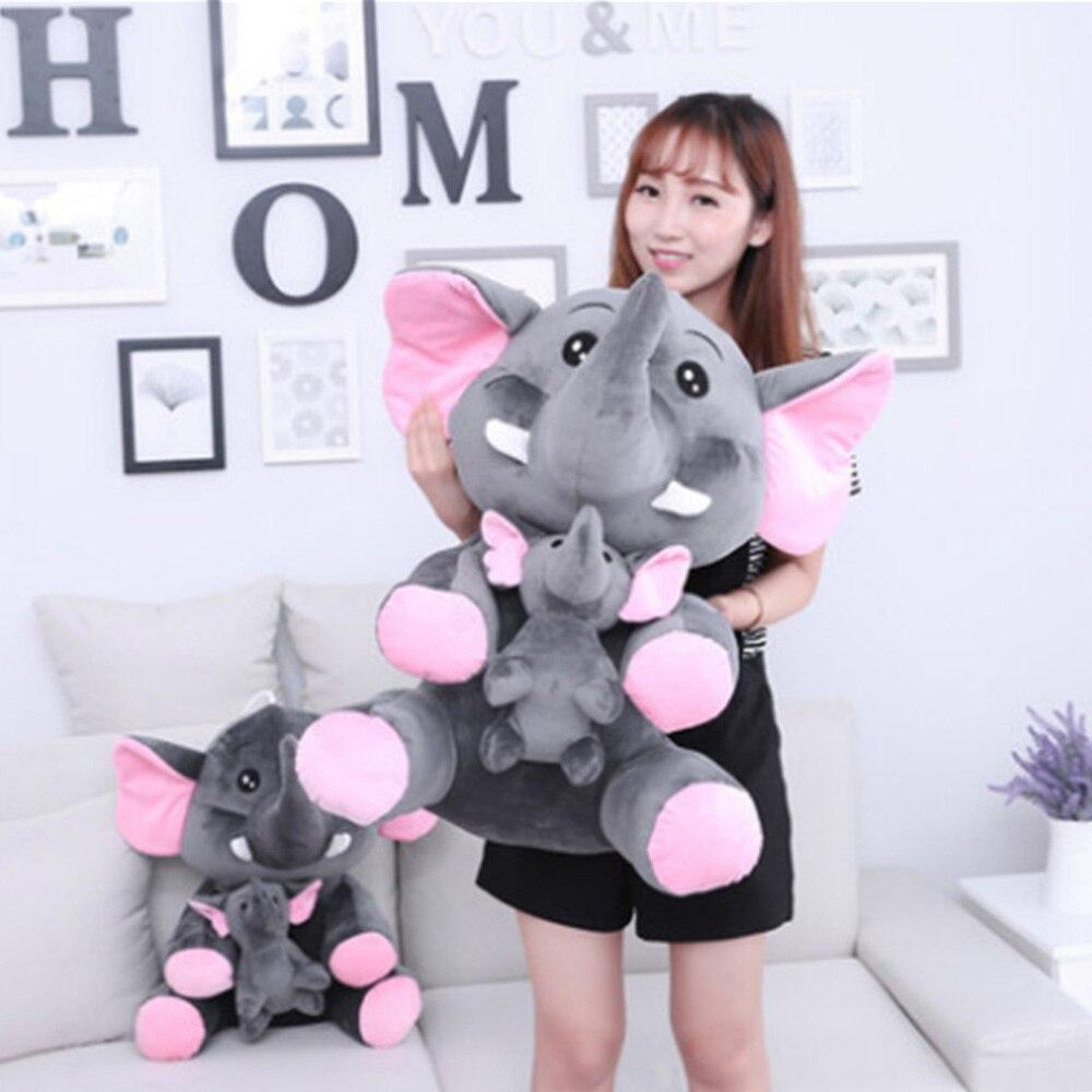 Fancytrader милый большой плюшевый слон мама и ребенок игрушки прекрасный аниме слон кукла для детей подарок 70 см 28 дюймов
