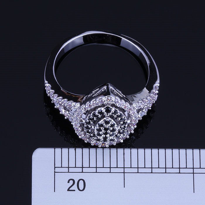 Love Monologue Top Quality Water Drop Shaped Black imitation Onyx and White CZ Silver Color Rings for Women Jewelry J0304