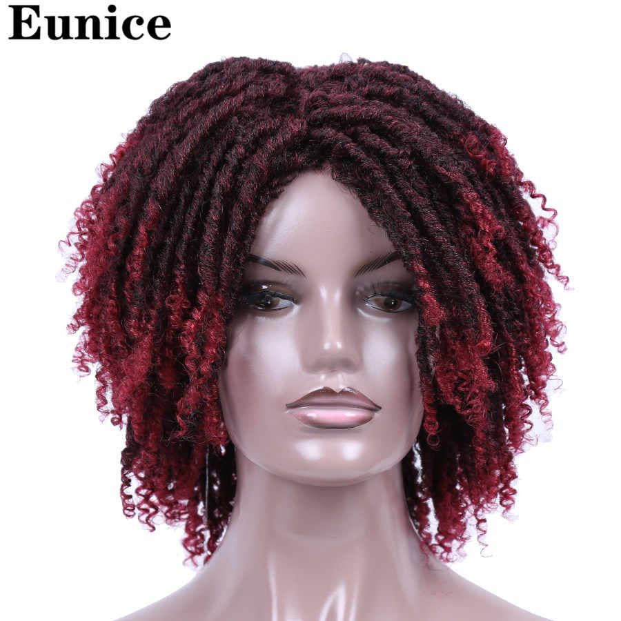 Short Synthetic Wigs For Women Eunice Hair 14'' Soft Dreadlocks Hair Wig Ombre Black Bug Crochet Braids Wigs Heat Resistant Wigs