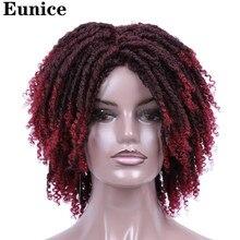 をユーニスのショートウィッグ毛 14 ソフトドレッドヘアのかつらオンブル黒バグかぎ針組紐かつら熱にくいかつら