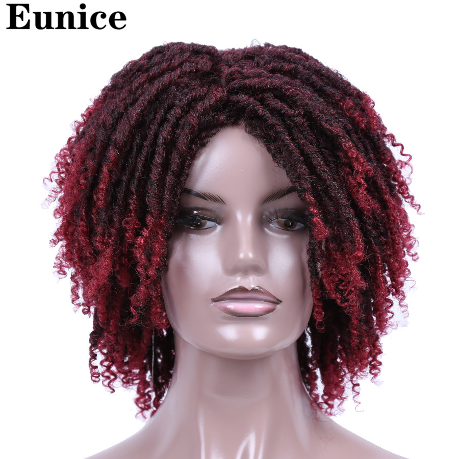 Short Synthetic Wigs For Women Eunice Hair 14'' Soft Dreadlocks Hair Wig Ombre Black Bug Crochet Braids Wigs Heat Resistant Wigs-in Synthetic None-Lace  Wigs from Hair Extensions & Wigs