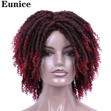 Short Synthetic Wigs For Women Eunice Hair 14 Soft Dreadlocks Hair Wig Ombre Black Bug Crochet Braids Wigs Heat Resistant Wigs