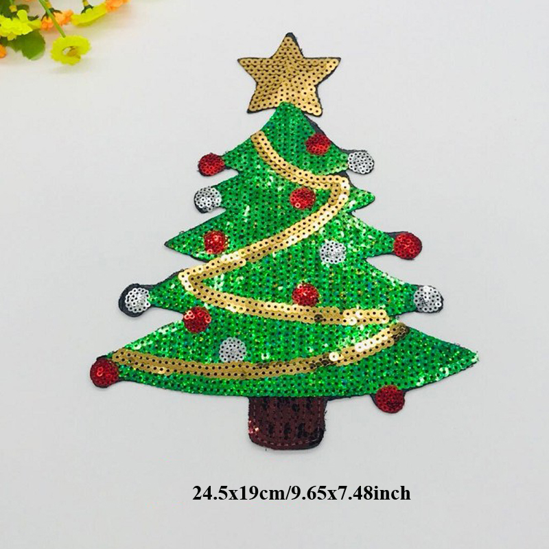 Christmas Tree Patch: 1pcs Christmas Tree Appliques Sequins Patches Iron On