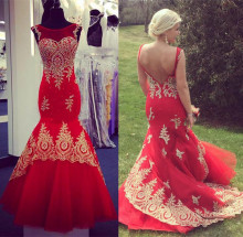Elegant Red Mermaid Prom Dresses Scoop Neck Sleeveless Gold Appliques Lace Tulle Backless Plus Size Evening