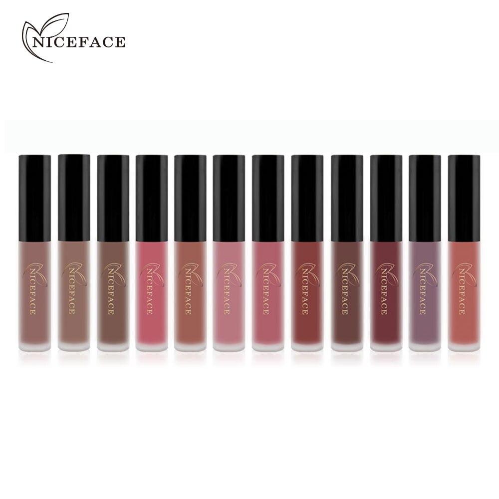 Newly Lipstick Color Women Fashion Feel 12Pcs/set Makeup Matte Lipstick Lip Gloss Pencil Beauty Long Lasting Lip Coloring 1