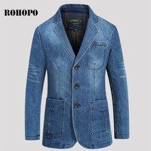 ROHOPO Single Breast Sim Denim Blazer Man,Motor & Biker Fit Thicken Cotton Male Denim outwear,Sky Blue Militar casual blazers