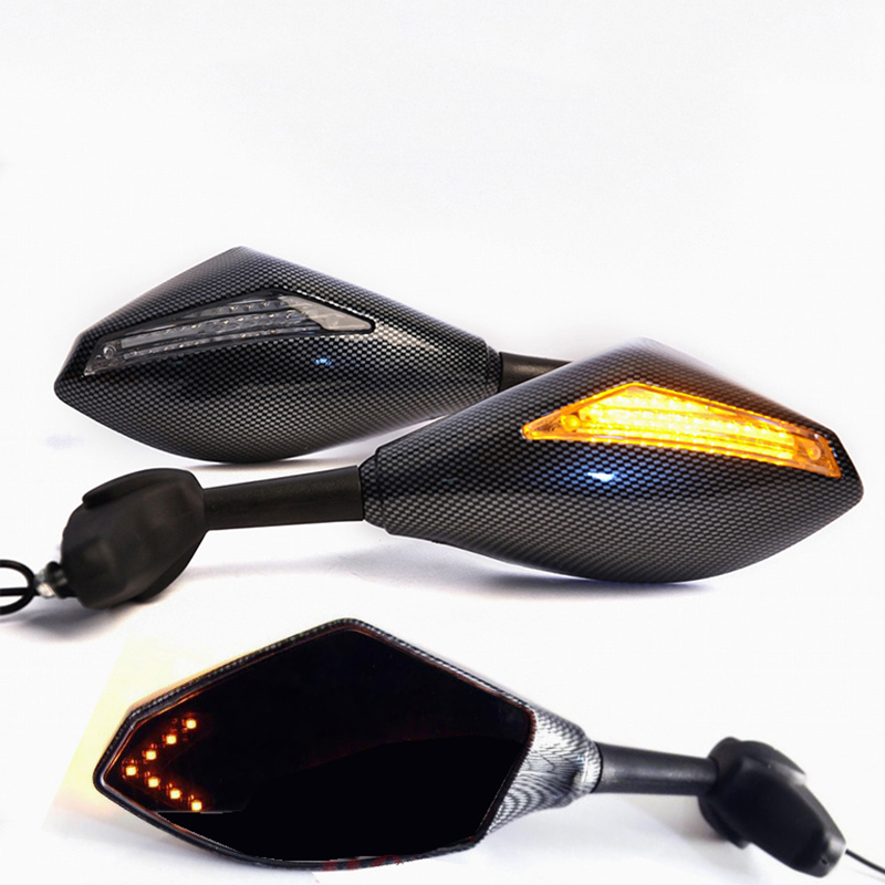Carbon fiber Motorcycle LED Turn Signal Mirrors For BMW F650CS F650GS F700GS F800GS G450X G650GS G650X K1200GT K1200LTC K1200RS image