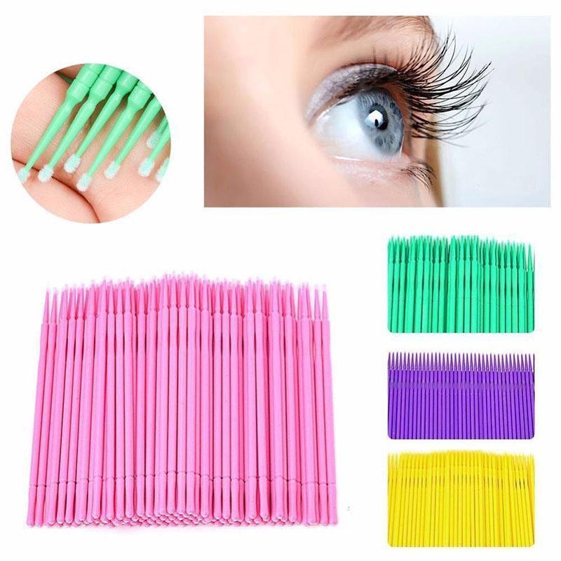 100 Pcs Micro Brush Disposable Extension Make Up Stick Eyelash Applicator Brush Medical Swab