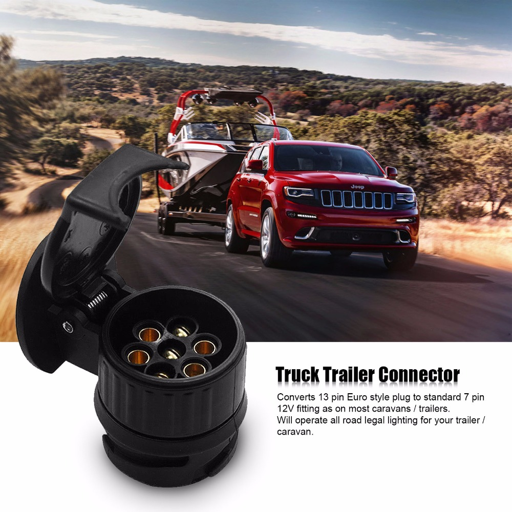 13 To 7 Pin Plug Adapter Trailer 12v Towbar Towing Caravan Truck Wiring Lights Vehicle Cable Electrical Converter Plastic Connector Black Color In Cables