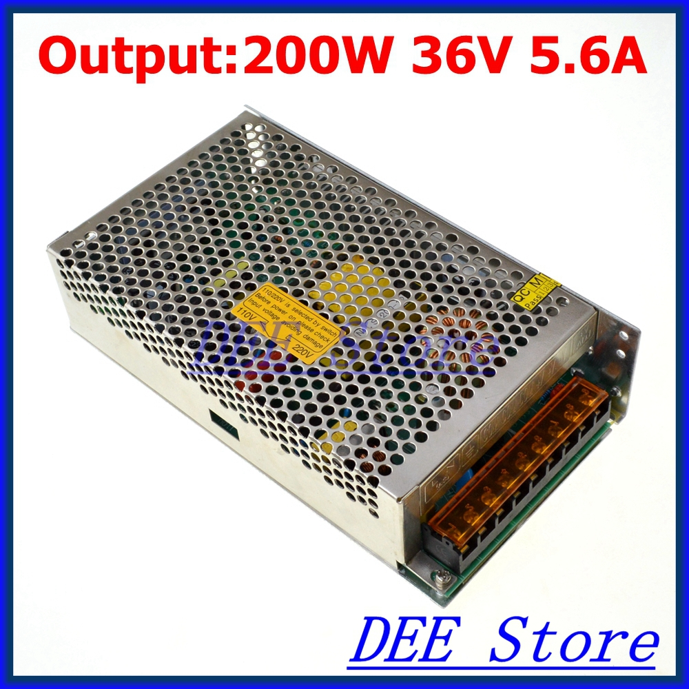 200W 36V 5.6A Single Output Adjustable Switching power supply unit for LED Strip light Universal AC-DC Converter