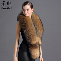 Natural Raccoon Fur Scarves 2016 Winter New Arrival Luxury Brand Solid Fashion Women Scarves High Quality