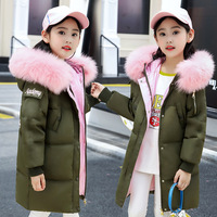 Kids Clothes Girls 2018 New Brand Winter Jacket For Girls With Real Fur Hooded Girls Warm Down Coats Parkas High Quality 5 14T