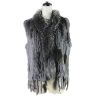 Free shipping womens natural real rabbit fur vest with raccoon fur collar waistcoat/jackets rex rabbit knitted