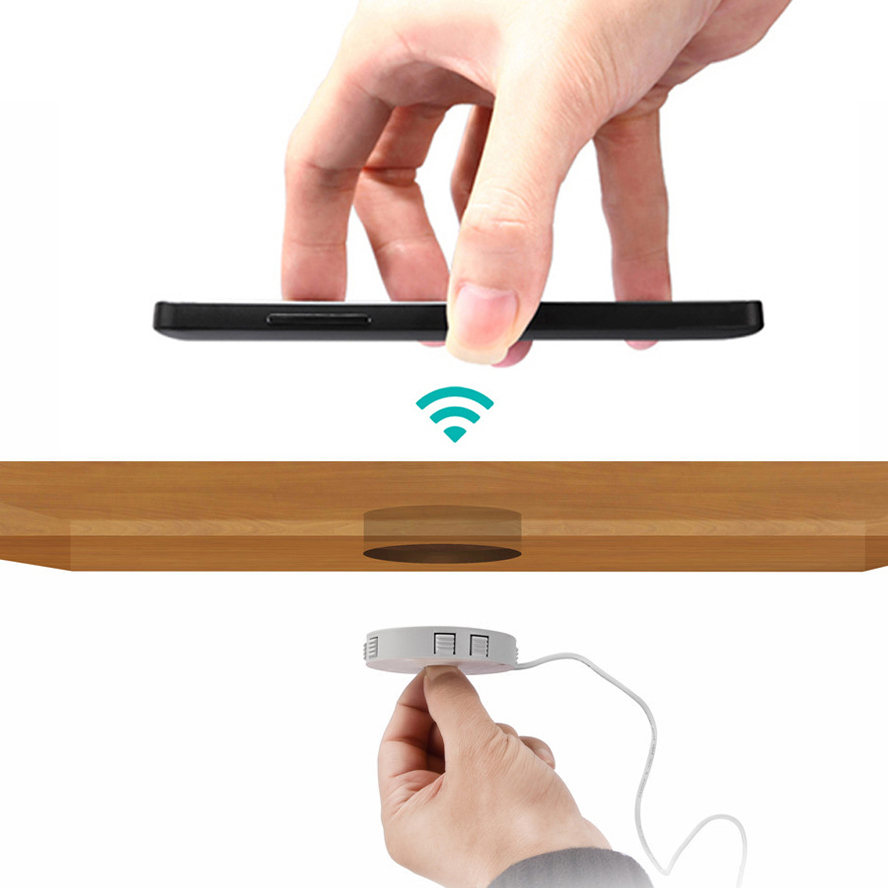 Fast QI Wireless charger invisible desktop furniture table hidden embedded adsorption suspension For IPhone Samsung QI Universal 1