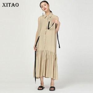 Женское жаккардовое платье-миди XITAO, винтажное плиссированное платье без рукавов с лентами и карманами, WBB4089, 2019