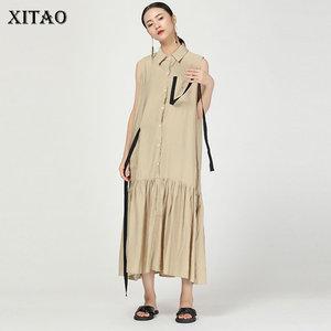 Платье XITAO женское, винтажное, жаккардовое, без рукавов, с ленточками и плиссированными карманами, WBB4089, 2019