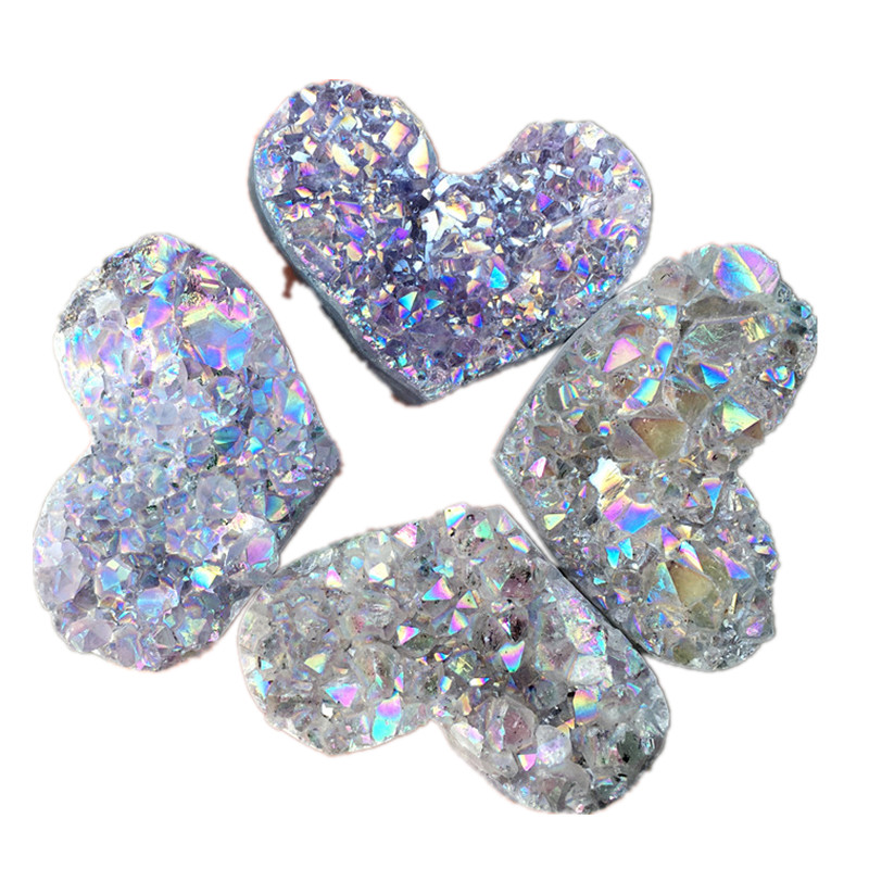 Heart Shaped Crystal Healing Crystals Stones Titanium Rainbow Aura Amethyst Cluster Angel Aura Quartz gemstone 1pcs