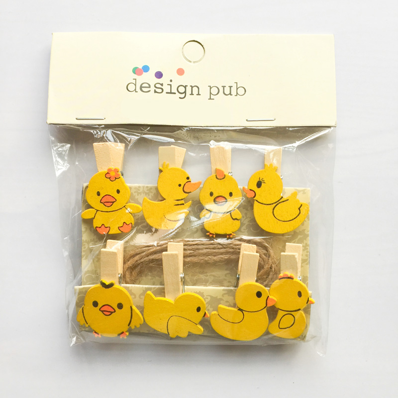 10 Pcs /Pack Yellow Duck Wooden Paper Clip Bookmark For Album With Rope Message Stickers Stationery